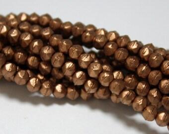 50 Czech English Cut Round Glass Beads in Matte Metallic Bronze Copper - 3 mm
