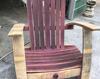 Lounge Chair made from wine barrel staves.