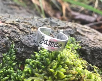 Hand stamped personalized adjustable name ring - Jewelry Handstamped Family Children Mom Mother Adjustable Kids infinity cross love Family