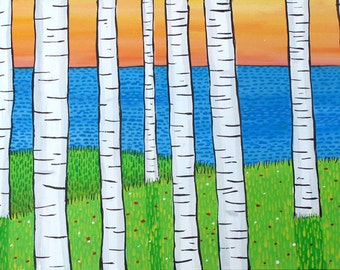 Fox Birch Trees Ocean Sunset Summer Landscape print, Shelagh Duffett