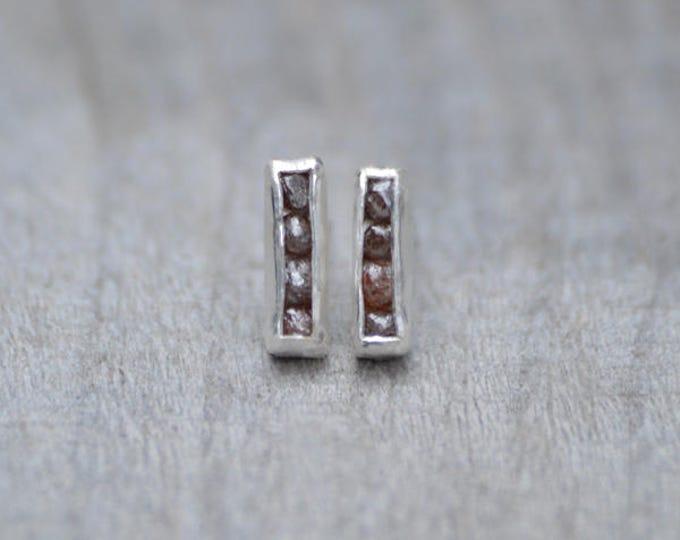 Raw Diamond Earring Studs, Total 0.8ct Raw Diamonds, Diamond Wedding Gift, April Birthstone Handmade In England