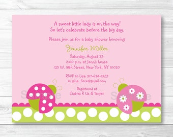 Cute Pink Ladybug Baby Shower Invitation / Ladybug Baby Shower Invite / Pink & Green / Baby Girl Shower / PRINTABLE A376