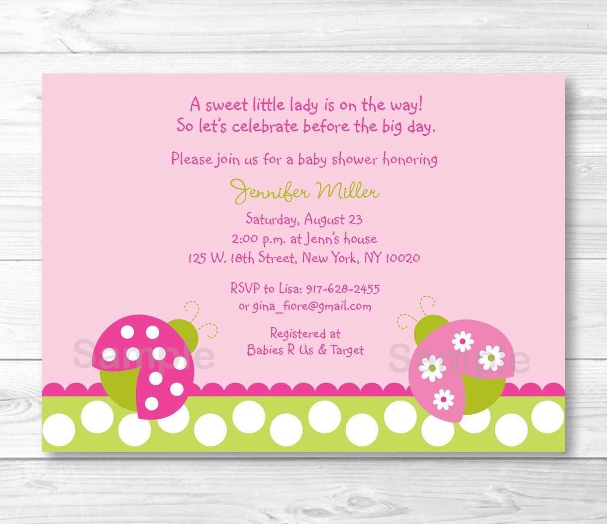 Cute Pink Ladybug Baby Shower Invitation / Ladybug Baby Shower