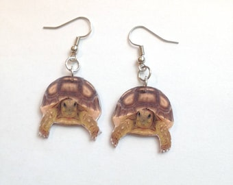 Sulcata Tortoise Earrings Handcrafted Plastic Jewelry Accessories Fashion Novelty Unique Gift Gifts for Her