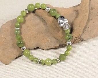 Man jade with 925 sterling silver skull bracelet, ethnic bracelet man jade and 925 sterling silver skull, jade and 925 sterling silver skull
