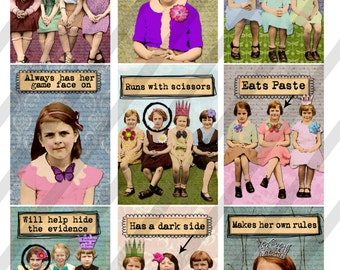 Girlfriends Digital Collage Sheet 2.5 X 3.5 ATC Sized Images (Sheet no. FS263) Instant Download