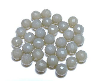 10 Pcs Very Beautiful Natural Grey Chalcedony Faceted Balls Size 8 MM