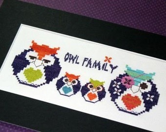 Owl Family - Cross Stitch Chart by Spanish Designer.   Modern cross stitch design with a family of owls.