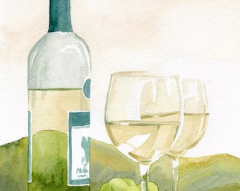 White Wine Art Print, Wine country painting, wine grapes artwork, white wine watercolor, Riesling, Chardonnay, Mother's Day card