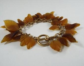 Brown Leaf Bangle Bracelet