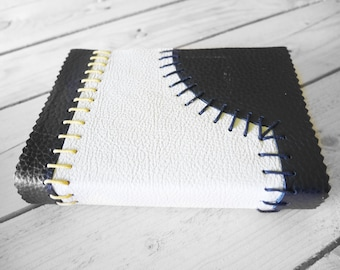 Black & White Classic Style leather Journal - textured first and last page!