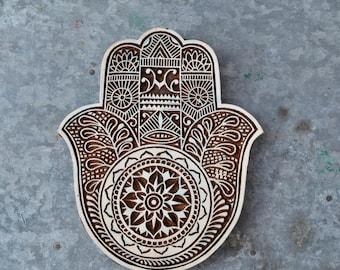 Tribal hamsa stamp wood block Hand of Fatima decor textile printing henna Indian carved print making, protection spiritual