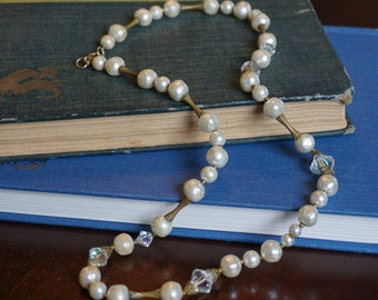 Vintage Pearl and Crystal Necklace/ Wedding Jewelry/ Bride/ Flapper Costume/ Great Gatsby/ Faux Pearl Necklace