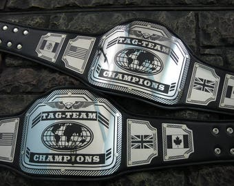 Pair Tag Team Championship Title Belts New Enforcer Model 30% larger plates than our other models! tag-team Handcrafted in the U.S.A.