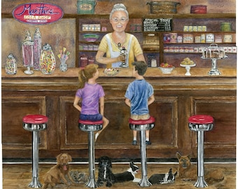 Soda Fountain,BostonTerrier's, Cocker Spaniel's,Dogs,Good Old Days,Sundaes and Floats, Apothecary Candy Jars,Fine Art Print,Janet Dosenberry