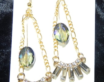 Jewelry, Earrings, Gold with Rhinestones and Swarovski Crystals, Dangles, Elegant