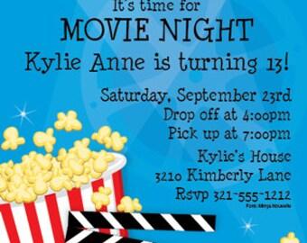 Movie Night Party Invitation, Birthday Bash Family Party, New Release Cinema, Celebration, Original Digital Invitation, ISN1151