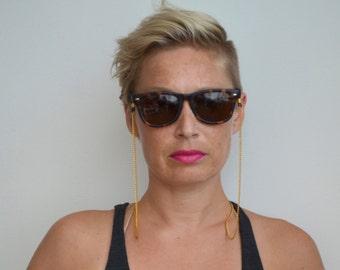 eyewear retainer - gold tone sunglass , eyewear, reading glasses chain with black attachment