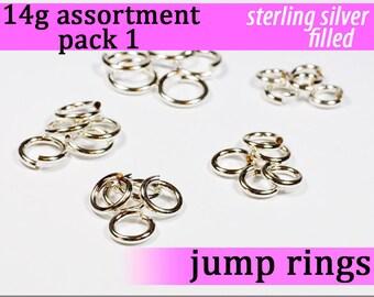 42 pcs 14g silver fill sampler pack 1 jump rings 14 gauge 14gsamp1 14k silver filled rings findings