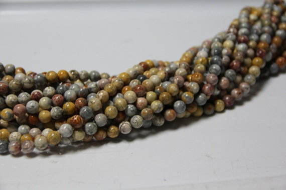 """Flower  Jasper 8mm smooth round beads 16"""" length full strand"""