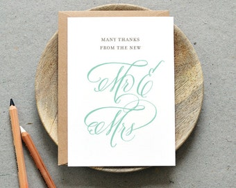 Printable Wedding Thank You Folded Card PDF / 'Classic Calligraphy' Mr & Mrs Thank You / Mint / Digital File Only / Printing Also Available
