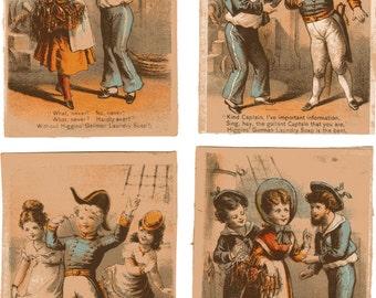 Victorian Trade Card Set Hiigins German Laundry Soap SAILORS