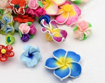 20 Pieces 12mm - 40mm Rainbow Mix Polymer Clay Flower Beads Frangipani Flower Beads Clay Beads