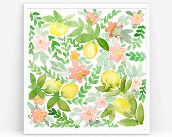 Lemons and Blossoms, original watercolor painting, lemon home decor, lemons pattern, citrus art, kitchen decor, kitchen art