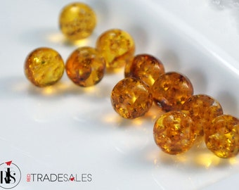 1 Natural Baltic Amber round beads 10mm - ARR10