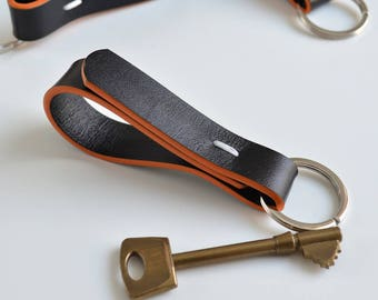 Leather keychain - Alexis Black leather keyring / leather key ring black leather key chain leather key holder groomsmen gift gift for him
