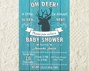Oh Deer Baby Shower Invitation, Rustic Baby Boy Shower Invitation, Buck Antler Baby Shower Invitation, Woodland Baby Shower Invitation