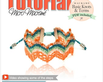 ZigZag micromacrame tutorial with VIDEO esquema PDF macrame