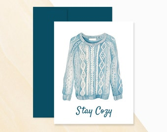 Stay Cozy Sweater Card,  Season's Greetings, Holiday Card, Christmas Card, Christmas Card Greeting, Holiday Card Greetings