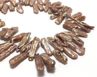 Biwa Pearls, 6.5-7.5mm x 16-21mm Copper Color Freshwater Pearls in 16 inches strand, BIWA018