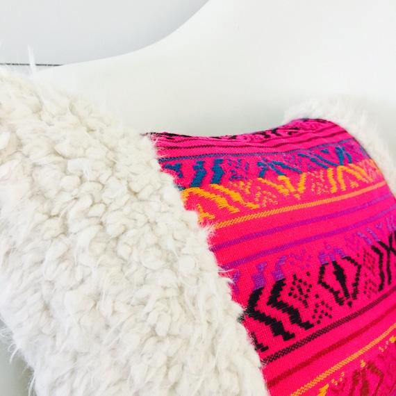 "Pink Boho Tribal Pillow Cover 13""x18"" Lumbar Cushion Pillow Ethnic Bohemian Geometric Tribal Motif in Turquoise Yellow Black with White Fur"