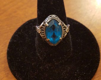 1930s Sterling Silver Filigree Ring