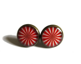 PEPPERMINT EARRINGS - Candy earring studs - Peppermint stud earrings - Red stud earrings - Candy jewelry for her - Circus