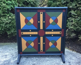 "19"", Parcheesi, Game Board, Wood, Hand Painted, Folk Art, Game Boards, Wooden, Primitive"