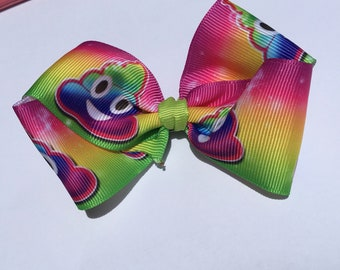"4"" Jojo rainbow poop hair bow, hair clip, boutique hair bow, pig tail bows, dainty bow, girls toddler bow, twisted bow"
