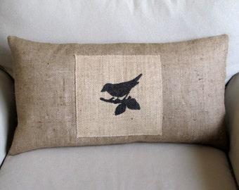 bird on branch lumbar pillow