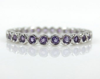 2.2mm Bezel Set Round Amethyst Eternity Band in 18k White Gold - Stacking Rings