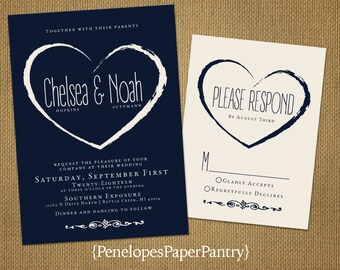 Elegant Navy and Ivory Summer Wedding Invitation,Navy,Ivory,Heart,Romantic,Chic,Modern,Custom,Printed Invitation,Wedding Set,Ivory Envelope