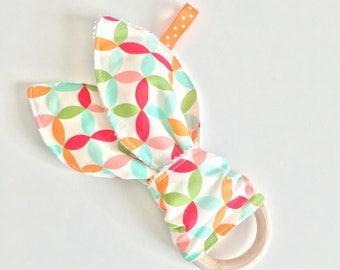 Bunny Ears teether. wooden teething ring. wooden teether. Baby toy. Teething ring. Colorful teething ring.
