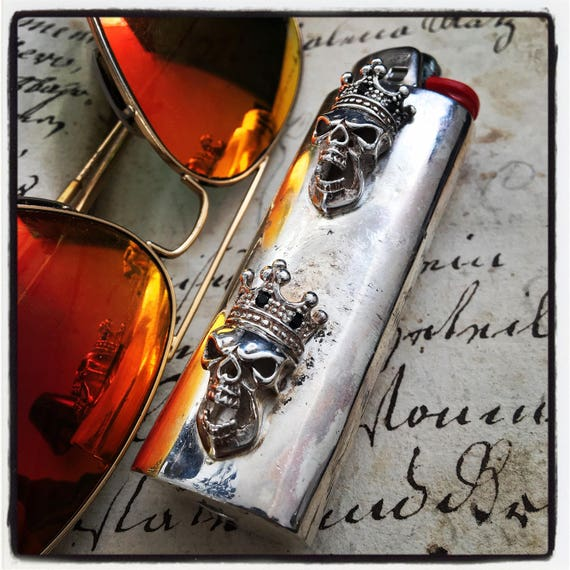 Etherial Jewelry - Rock Chic Luxury Biker Custom Handmade Artisan Pure Sterling Silver .925 Custom Skull Bic Large Lighter Case Holder