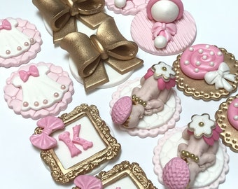 Baby Girl Fondant Cupcake Toppers set of 12