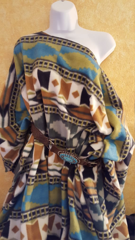 Maxi Native Turquoise Poncho Coat Inspired White American Camel Fleece Green Southwestern zqRfzwr