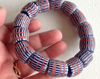 bracelet - chunky red white and blue glass beads