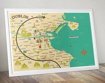 Dublin Map Illustration (32.1cm x 45.2cm)