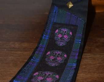 Skull Design Tie - Sugar Skull Tie - Alternative Ties - Tartan Ties - Punk Ties - Cravates