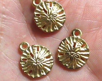 4 Petite Gold-tome Sand Dollar Charms